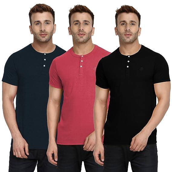b78847931 CHKOKKO Half Sleeve Cotton Casual Round Neck Tshirts Henley T Shirts for Men  (XX-Large