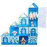 Armadio fai da te, sistema di scaffalatura per bambini, con porta biancheria, porta vestiti e scatola dei giocattoli, colore blu, 10 scomparti, capacità 430 litri