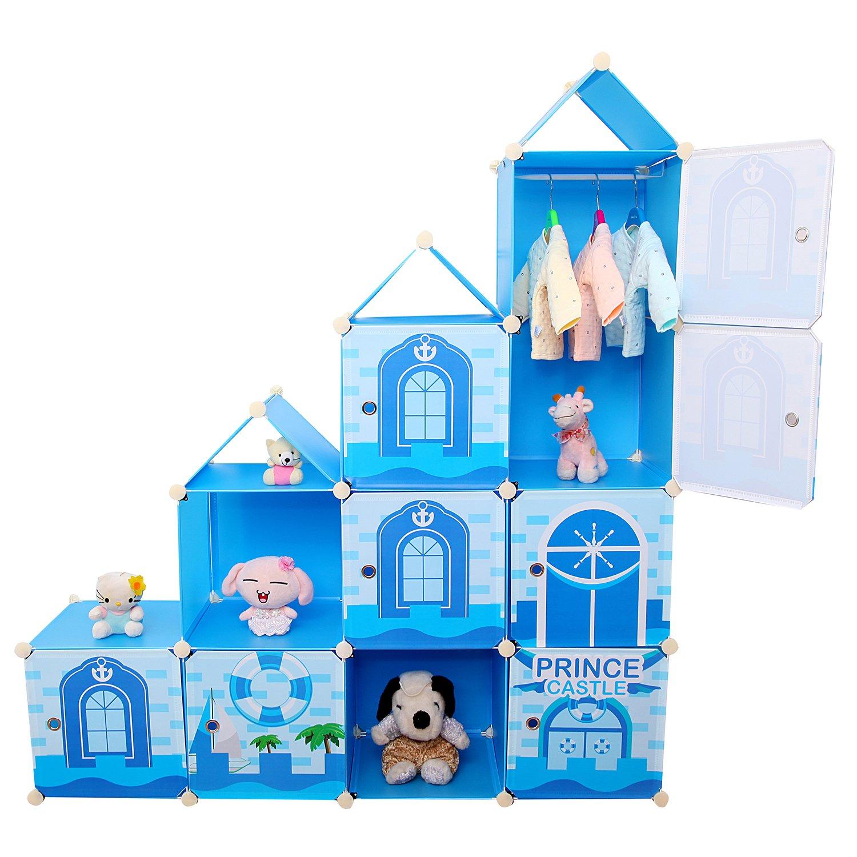 Armadio fai da te, sistema di scaffalatura per bambini, con porta biancheria, porta vestiti e scatola dei giocattoli, colore blu, 10 scomparti, capacità 430 litri imaxxtool