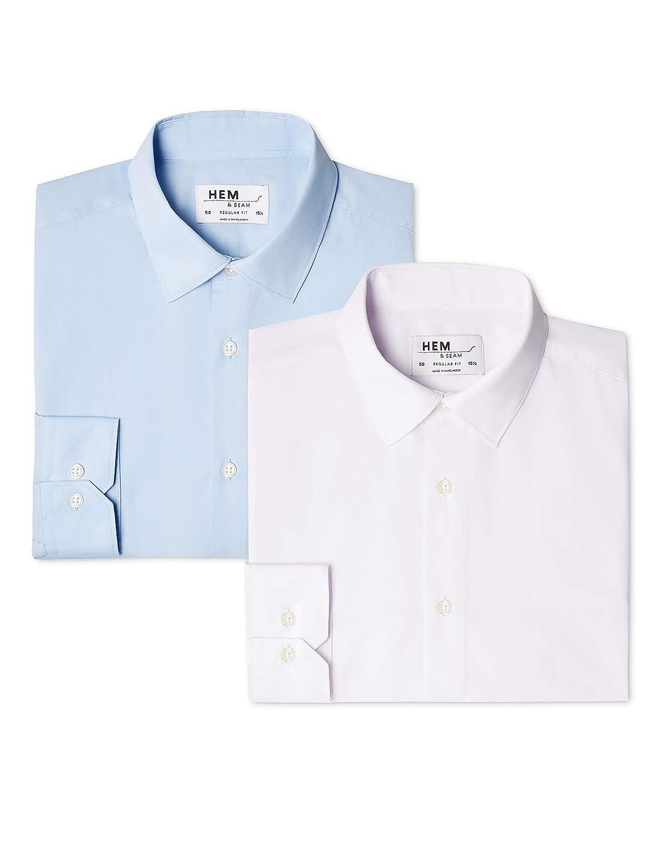 Hem & Seam 2 Regular Fit Solid Camisa de Oficina para Hombre (paquete de 2)