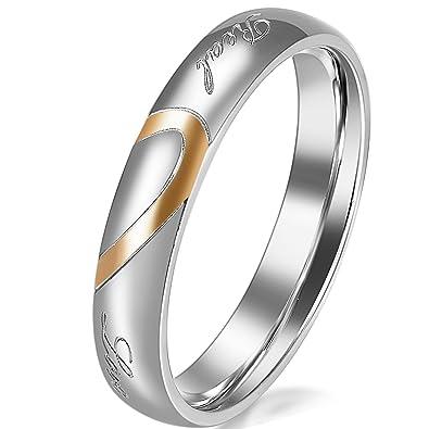 e3bcacf714b7 JewelryWe - Par de alianzas de Boda Originales Acero Inoxidable corazón.  Dorado, Negro, Plateado. Incluye Bolsa de Regalo