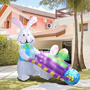 MUMTOP 4FT Inflatable Easter Day Outdoor Decoration, Lighted Blow Up Bunny and Cart with 2 Easter Eggs in It Lighted Decor for Indoor Outdoor Home Yard Lawn Garden Party