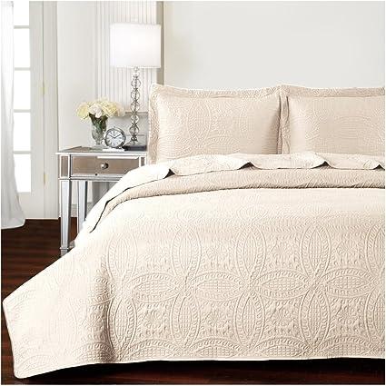 Mellanni Bedspread Coverlet Set Beige   BEST QUALITY Comforter Oversized  3 Piece Quilt Set (