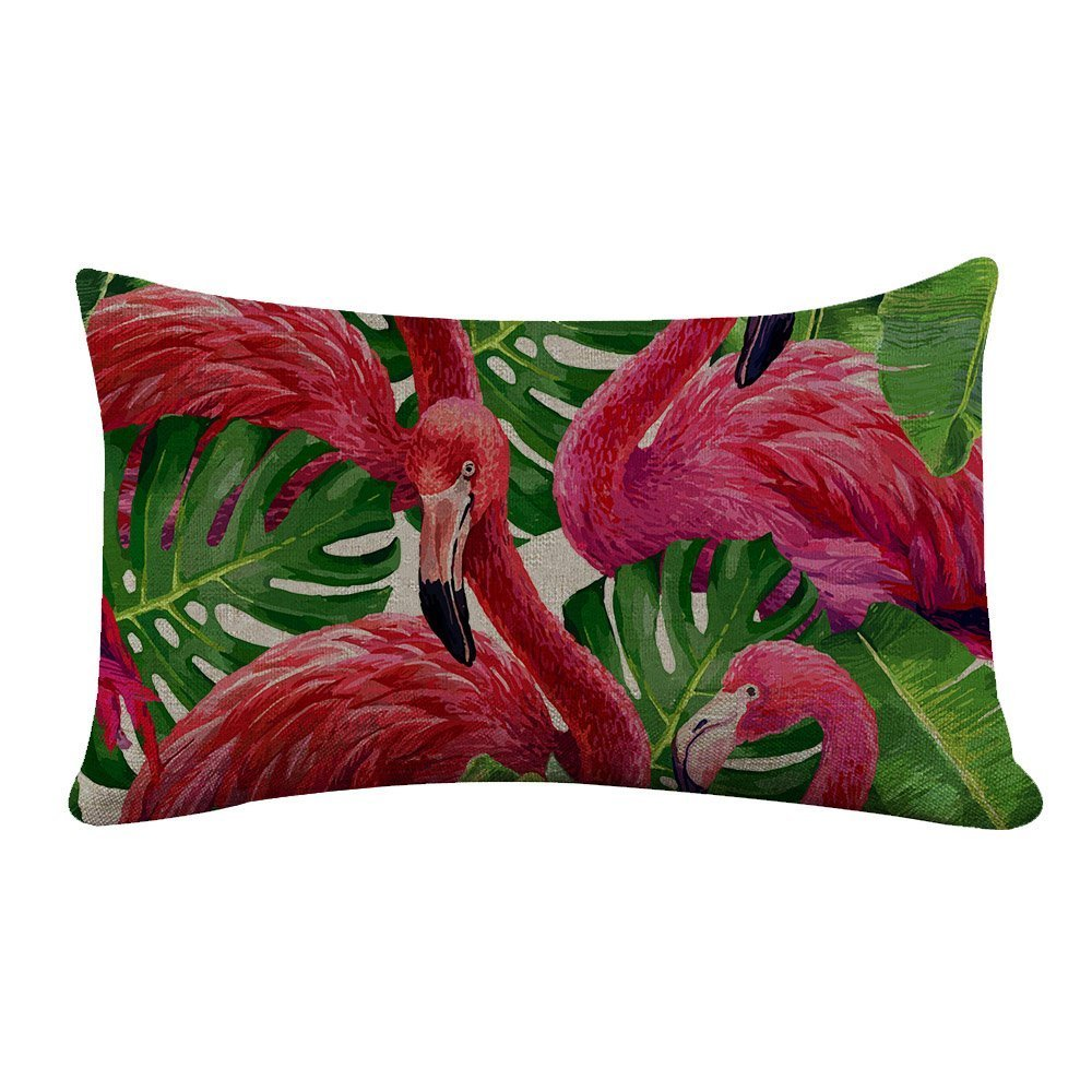 Yilooom Rectangle Pillowcase Cover Flamingo and Palm Tree Lumbar Pillow Covers Cases 12x18 Inches