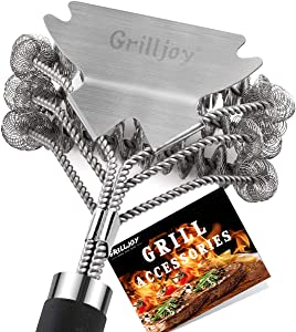 grilljoy 18in Grill Cleaning Brush Bristle Free - Safe BBQ Cleaning Grill Brush with Extra Wide Scraper for Gas/Charcoal Porcelain/Ceramic/Iron/Steel Grill Grates- Ideal BBQ Grill Accessories