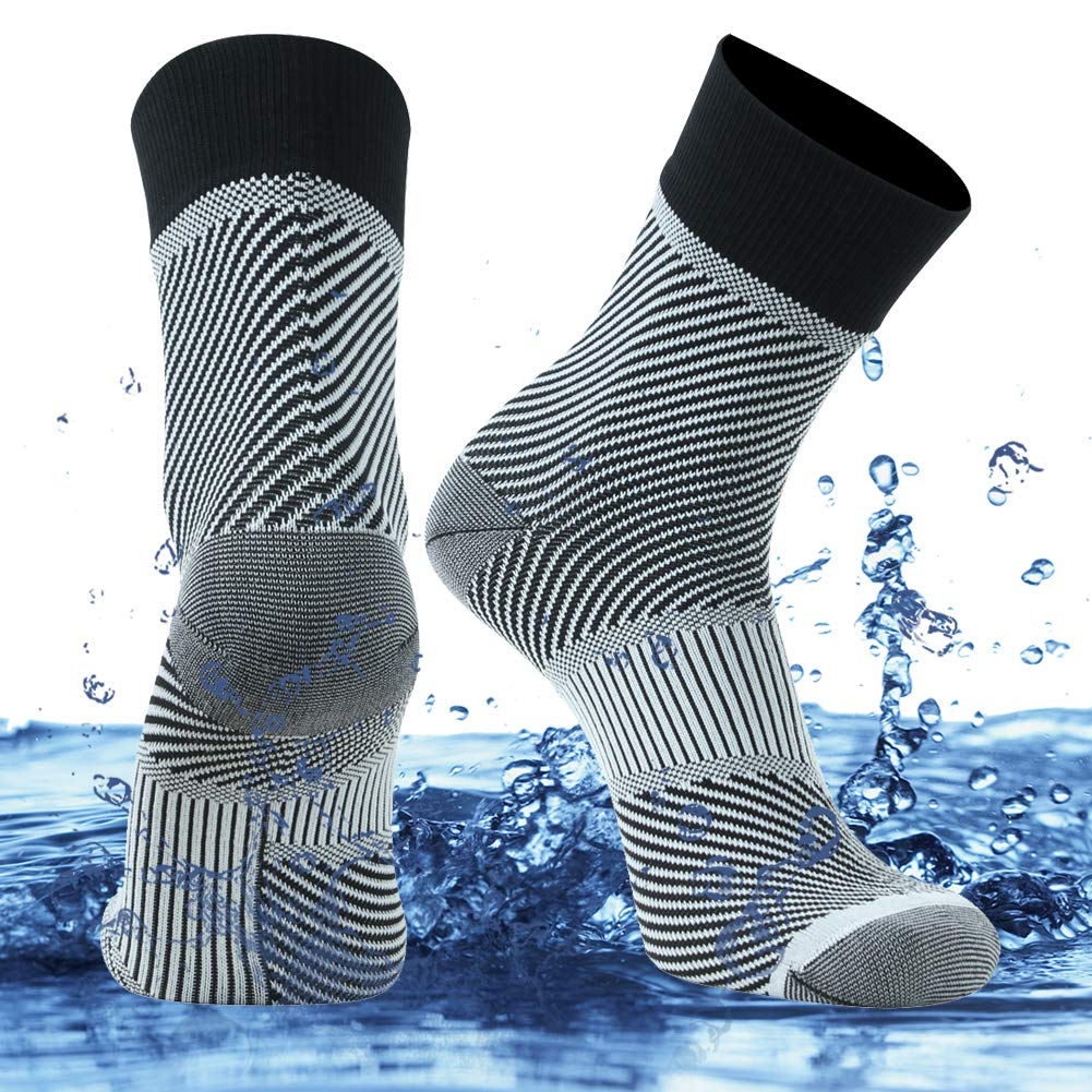 SuMade Waterproof Trekking Socks, Unisex Lightweight Comfy Fashion Bright Breathable Cushioned Fishing Kayaking Cycling Crew Socks 1 Pair (White, Medium) by SuMade