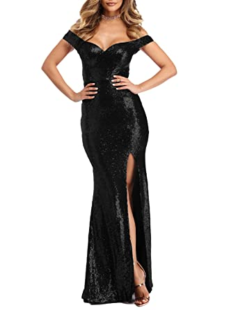Stillluxury Off The Shoulder Mermaid Sequin Prom Dresses with Slit Women Evening Gowns Black Size 6