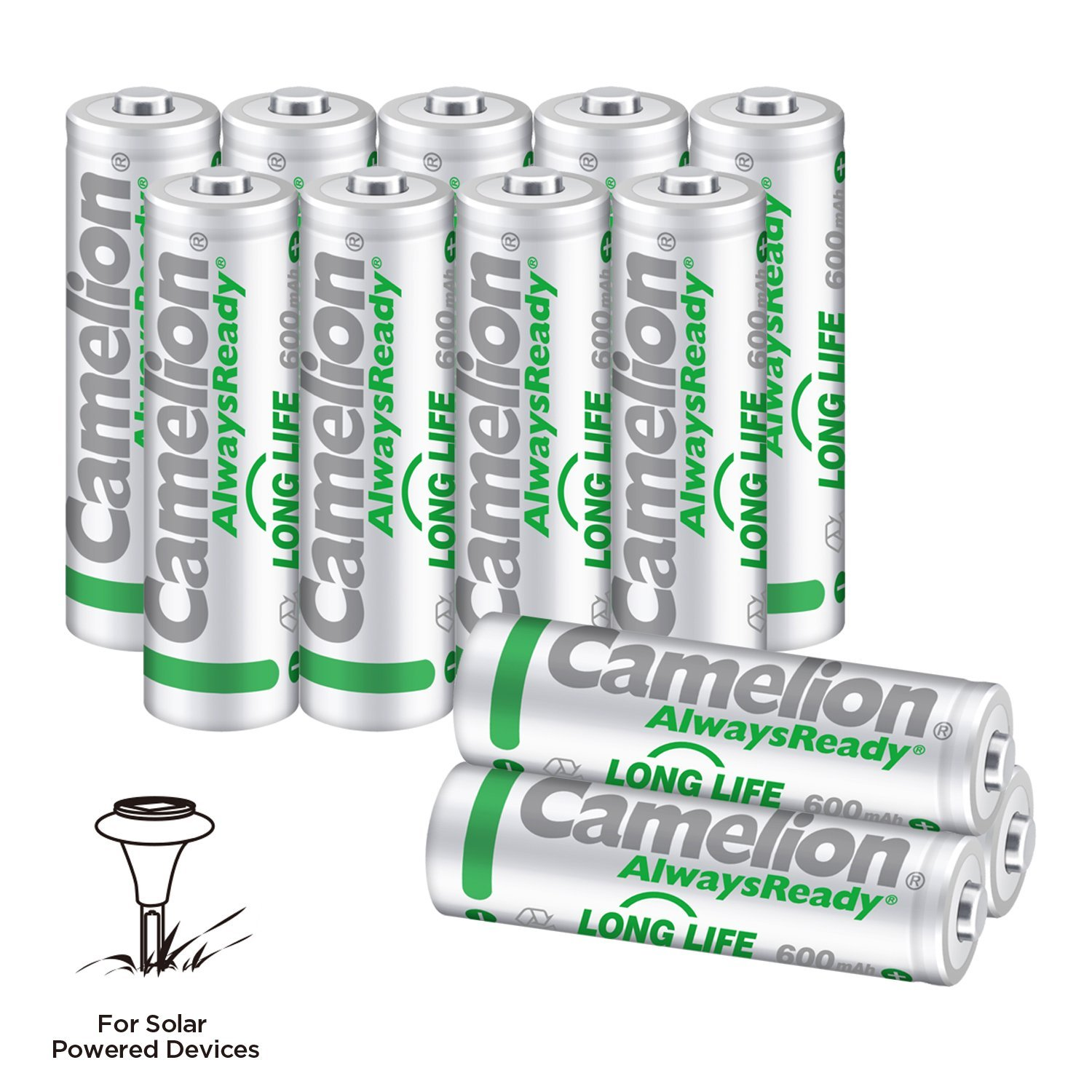 Camelion AA NH Solar rechargeable batteries 600mAh (12 counts) for solar powered devices, solar lawn light, solar light, solar lamp, lawn light, free battery storage box