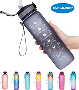 Venture Pal 32oz Motivational Fitness Sports Water Bottle with Time Marker & Straw, Large Wide Mouth Leakproof Durable BPA Free Non-Toxic