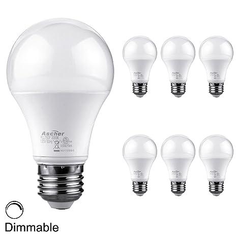Ascher LED luz bombilla (60 W equivalente, A19 bombilla 10 W, LED luces