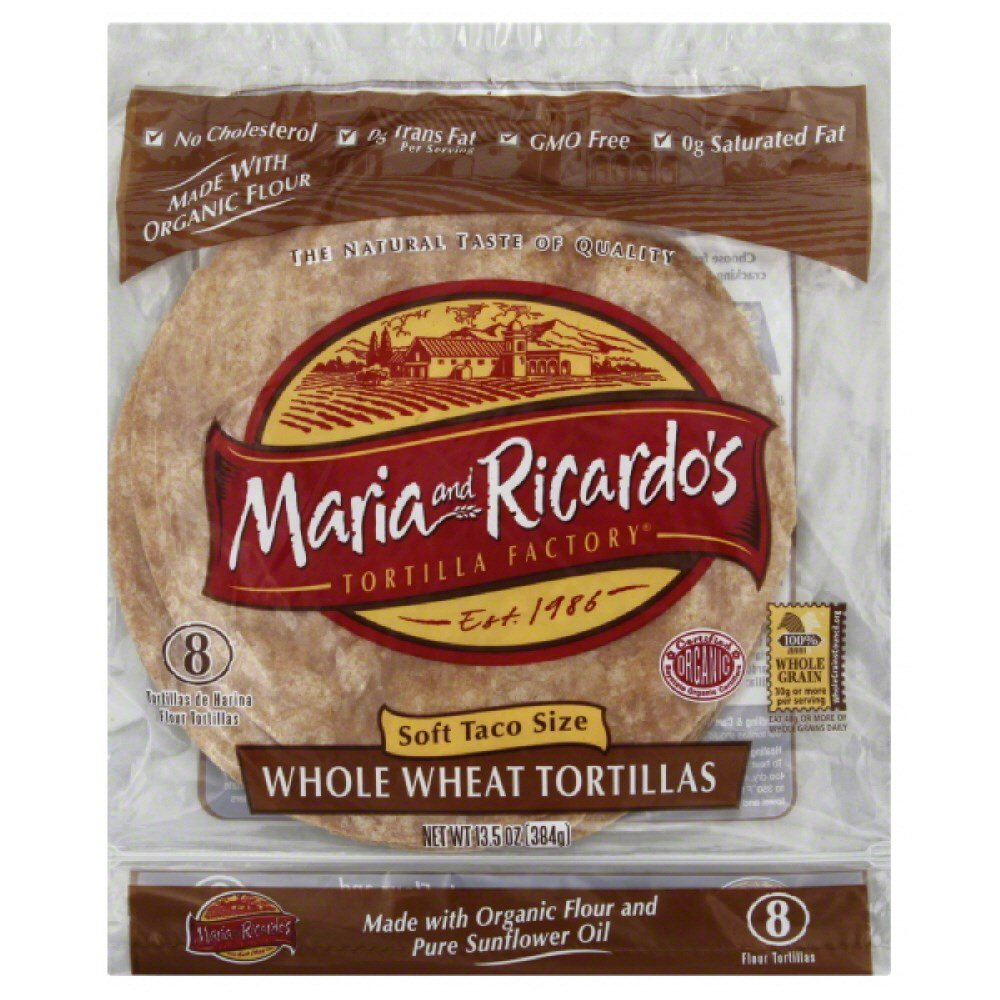Maria and Ricardos Organic Whole Wheat Tortilla, 8 inch -- 48 per case.
