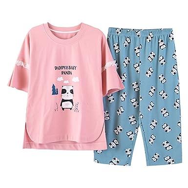 958fe213df8c Nawoshow Women s Cute Cartoon Print Tee and Shorts Pajama Set Big Girls  Loungewear (Panda