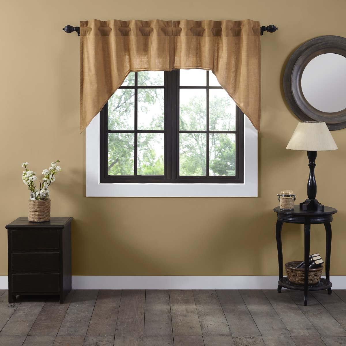 VHC Brands Classic Country Primitive Kitchen Window Curtains-Kindred Star Tan Lined Plaid Swag Pair 39483
