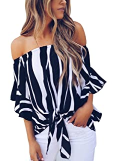 d341928cf8044 Asvivid Women s Striped Off Shoulder Bell Sleeve Shirt Tie Knot Casual  Blouses Tops