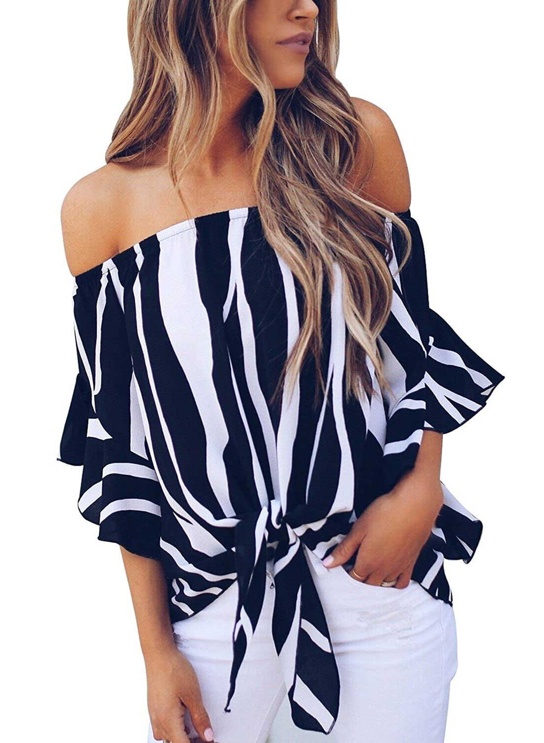 64ecfd096c13d Amazon.com  Asvivid Women s Striped Off Shoulder Bell Sleeve Shirt Tie Knot  Casual Blouses Tops  Clothing