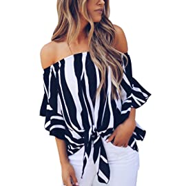 f5761e357e4fb4 Asvivid Women s Striped Off Shoulder Bell Sleeve Shirt Tie Knot Casual  Blouses Tops