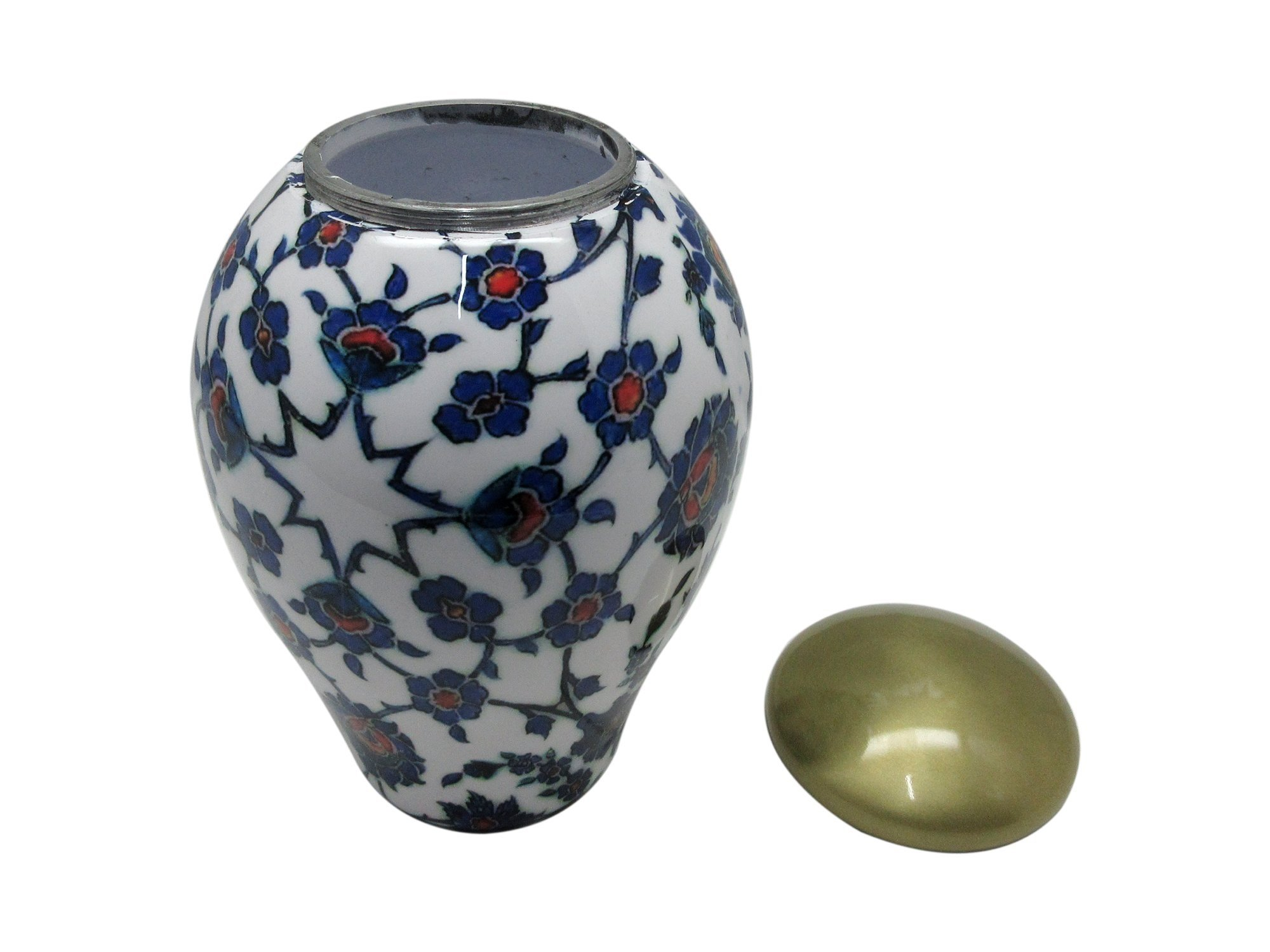 Customized Blue Floral Enamel Cremation Urn, Memorial Adult Human Urn with Personalization and bag