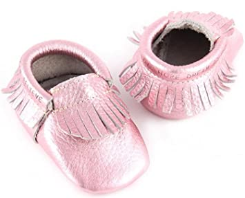 Amazon.com : First Steps Moccasins for Babies. Soft Soled Baby Shoes That Make Perfect Walking Shoes for Babies. (Pink, Size 3) : Baby
