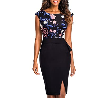 Collocation-Online Vintage Embroidery Floral Mesh Ruffle Vestidos Bodycon Office Business Sheath Women Dress at Amazon Womens Clothing store: