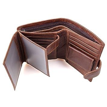 Billeteras hombre, Cartera de piel, carteras hombre Cuero, RFID Bloqueo Monedero de Cuero