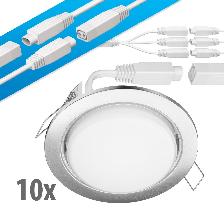 Ledscom  LED LED LED Decken-Einbaustrahler Ruba Chrom matt GX53 6,3W 450lm warmweiß rund flach 107mm Ø Lochkreis ca. 83-100mm Ø 6er Set dcacfc