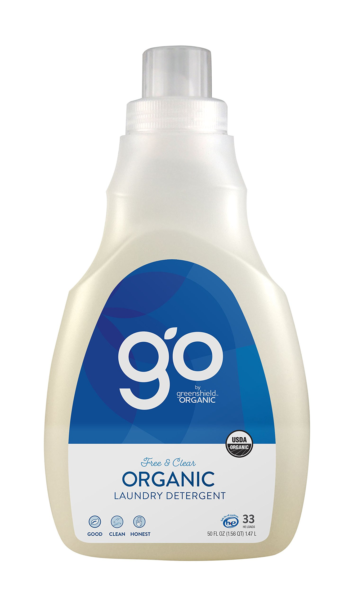 Greenshield Organic, Usda Organic Free and Clear Liquid Laundry Detergent, 50-Ounces (Pack of 4) by GreenShield Organic