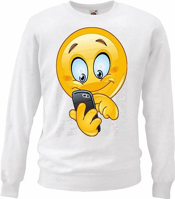 Sudaderas Suéter Feliz Sonriente LA Mensaje escribe Smileys LOS Smilies Android iPhone EMOTICONOS iOS sa Emoticon Sonrisa App en Blanco: Amazon.es: Ropa y ...