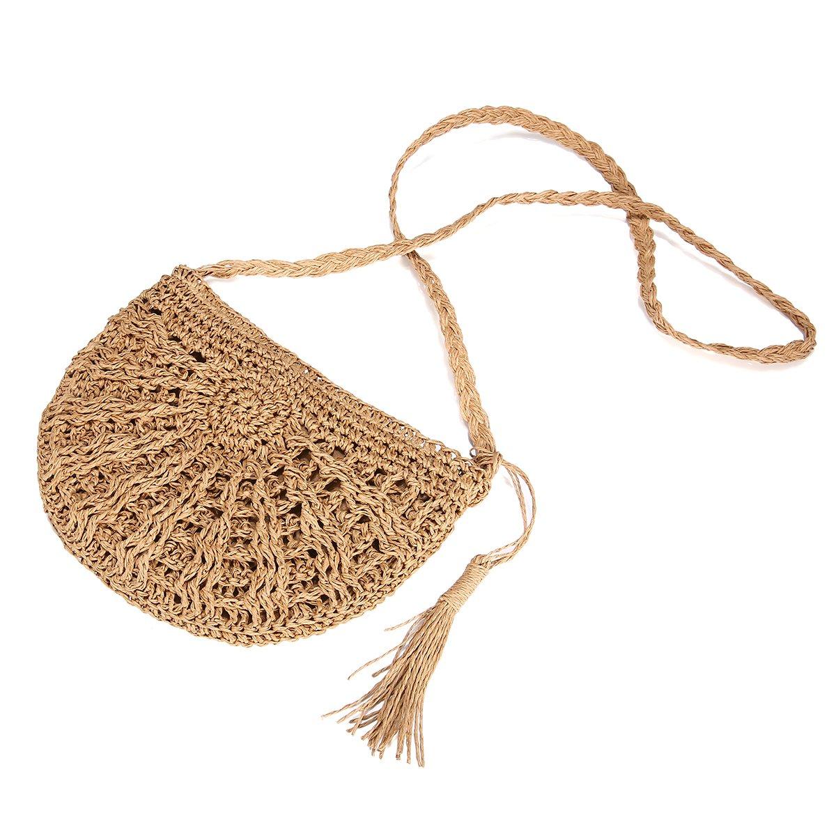 Straw Crossbody Bag, JOSEKO Women Weave Shoulder Bag Summer Beach Purse for Travel Everyday Use Khaki 28 x 15 x 26cm(L x W x H)