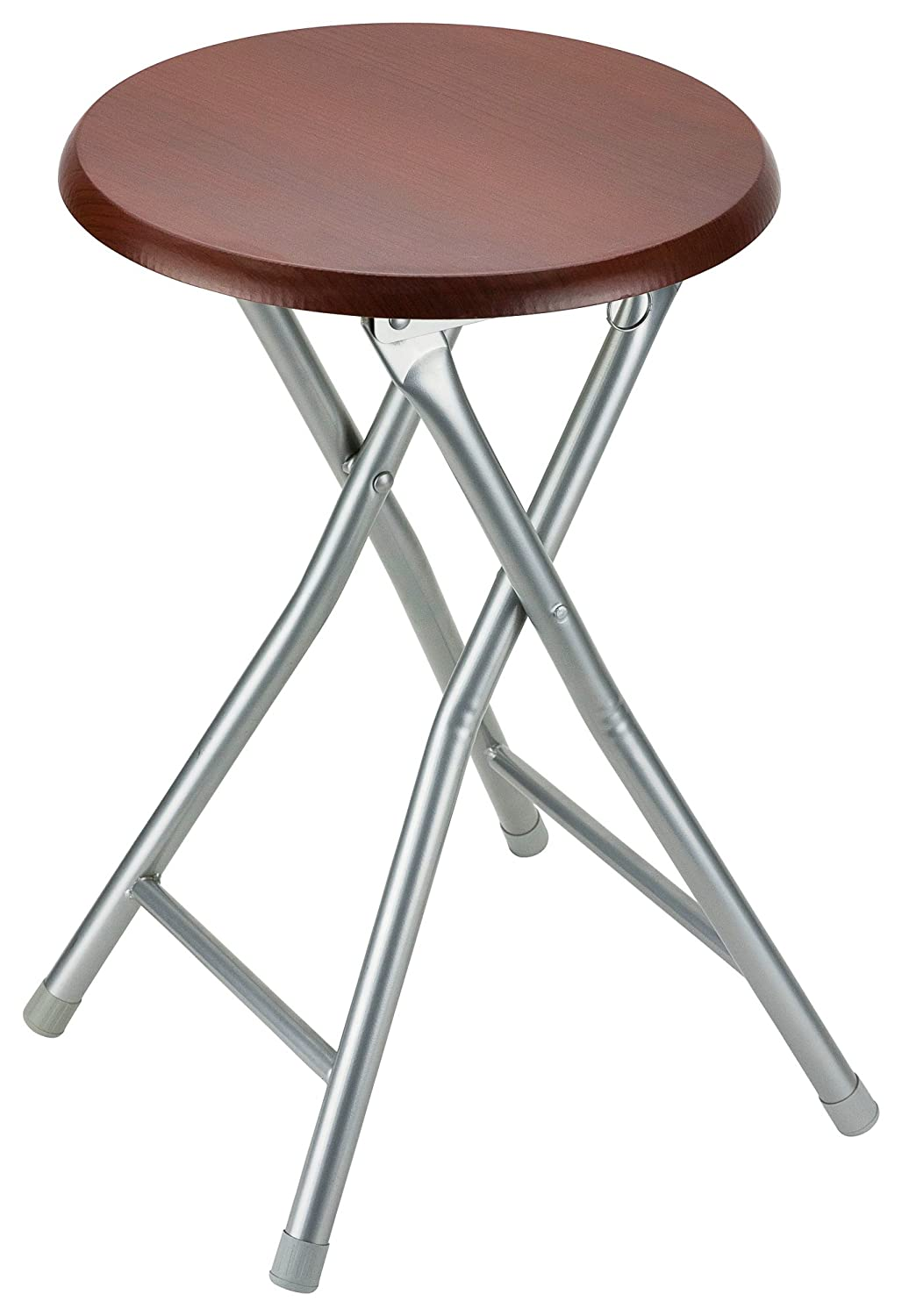 DecorRack Wooden Seat Folding Stool, 18 inch Portable Lightweight Foldable Chair, Collapsible Sitting Stool with Wooden Seating Top, Cherry (1 Pack)