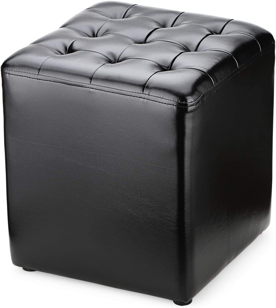 BILEEDA Small Leather Ottoman Foot Stools and Ottomans Foot Rest Stool Square Cube Black