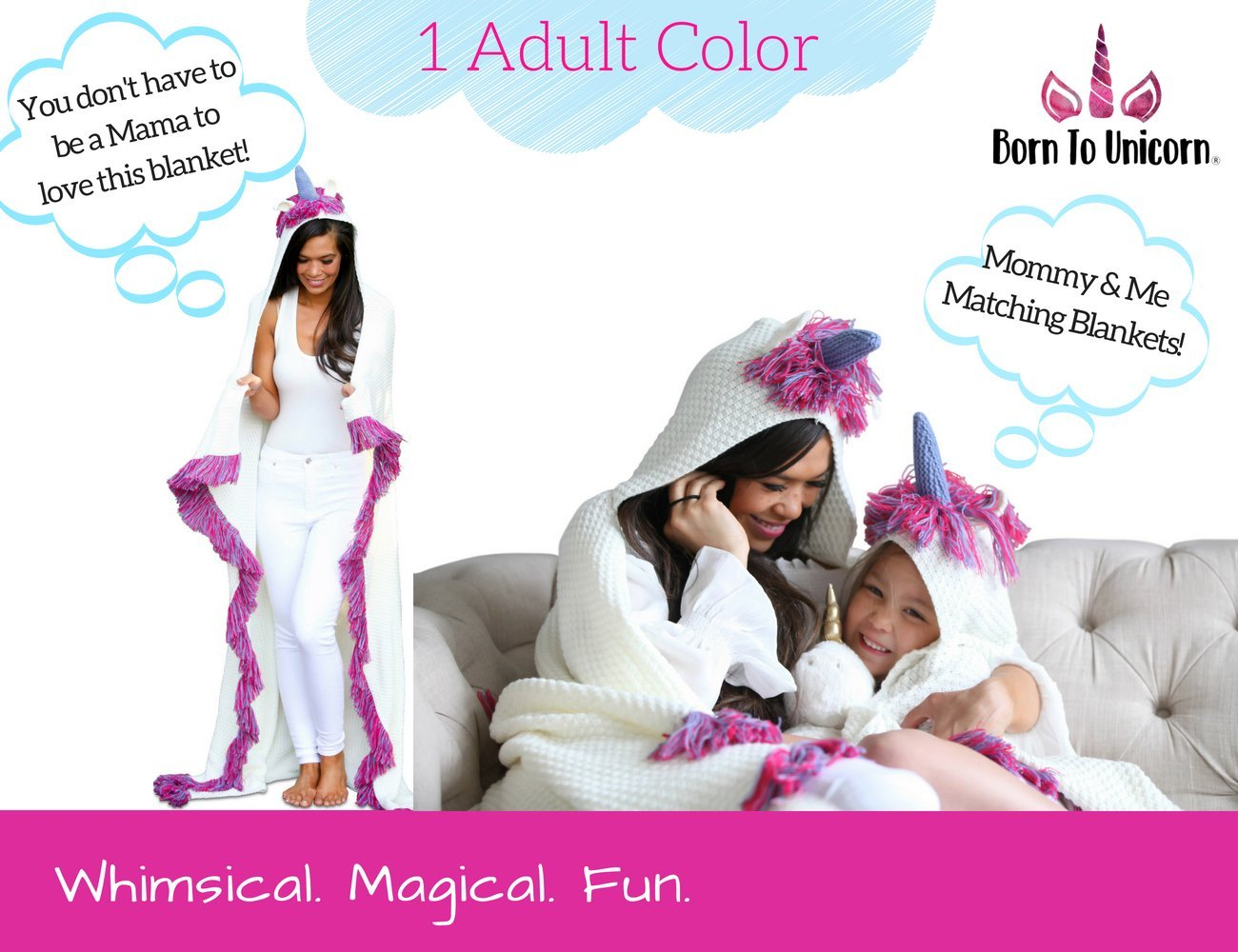 Born To Unicorn Blanket for Girls- Hooded, Kids Pink, Purple Wearable Crochet Knit w/Hood Throw Blankets Wrap, Toddlers Cute Plush Knitted Hoodie, Soft Kids Blanket Gift, Cozy Magic Cloak w/Hood by Born To Unicorn (Image #8)