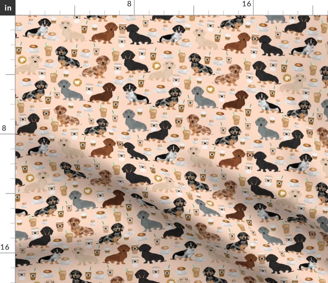 Spoonflower Fabric - Dachshund Coffee Coffees Blush Dog Dogs Latte Food Pets Pet Portrait Printed on Fleece Fabric by The Yard - Sewing Blankets Loungewear and No-Sew Projects