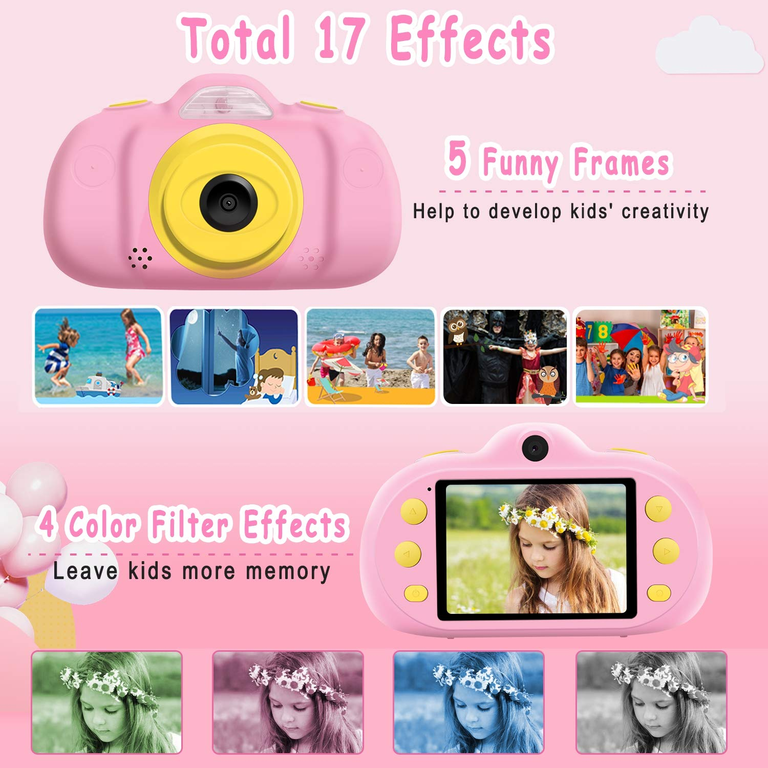 [NEW]2.4'' Kids Camera 12MP Kid Gift Toy DUAL Lens Camera 3-10 Years Girl boy HD 1080P Selfie Camera Mini Child Digital Camcorder with Puzzle Game,MP3 Kid Outdoor Camera Birthday Gift[Free 16G SD Card] by Camlinbo (Image #6)