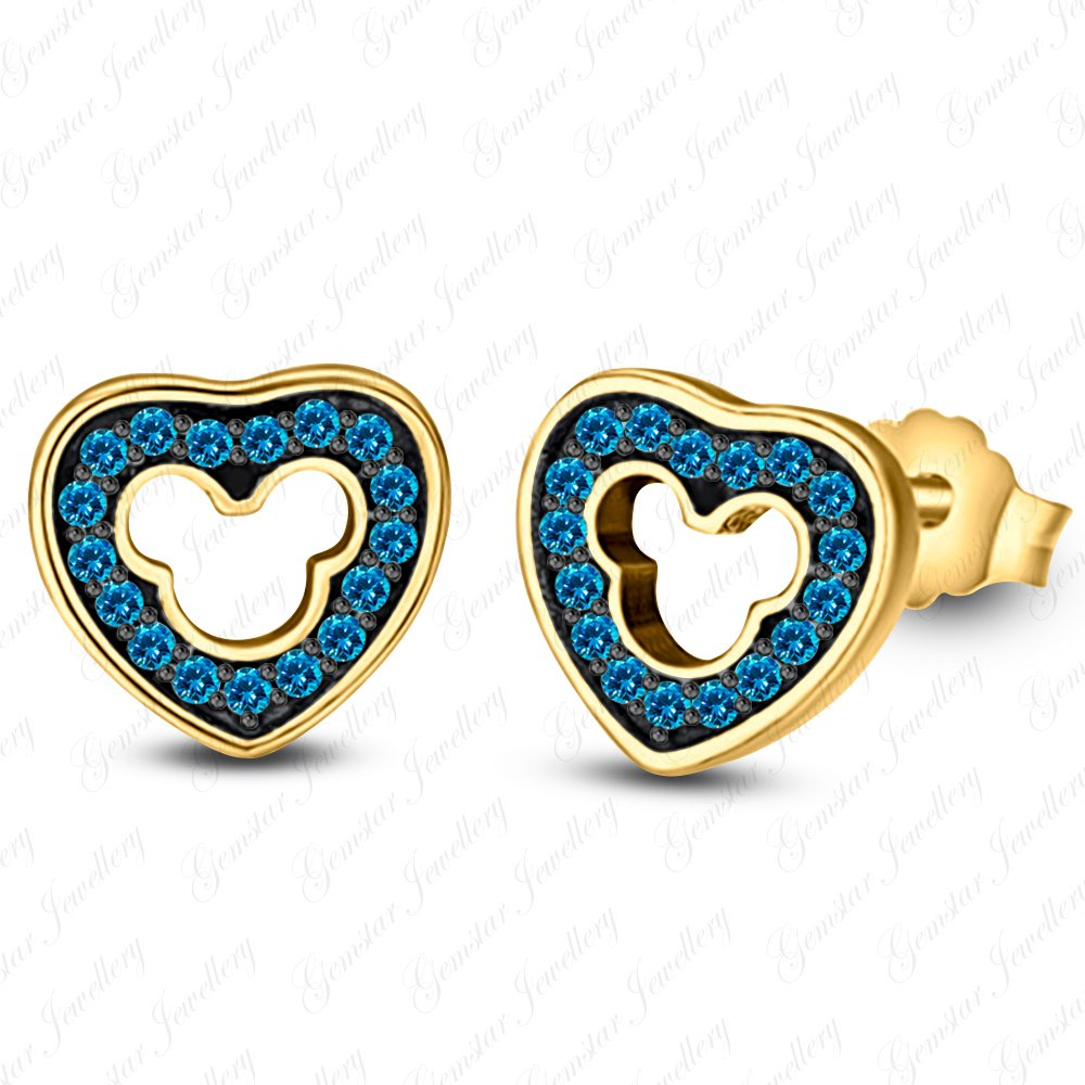 Gemstar Jewellery Round Cut Blue Topaz 14K Two Tone Gold Finish Disney Mickey Mouse Heart Earrings
