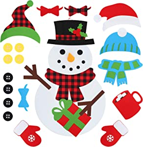 D-FantiX DIY Felt Christmas Snowman Kit, 3.1ft Large Kids Felt Snowman Game Set with 32 PCS Detachable Ornaments Craft Hanging Decor for Home Door Wall Xmas Decorations Gift for Toddlers Boys Girls