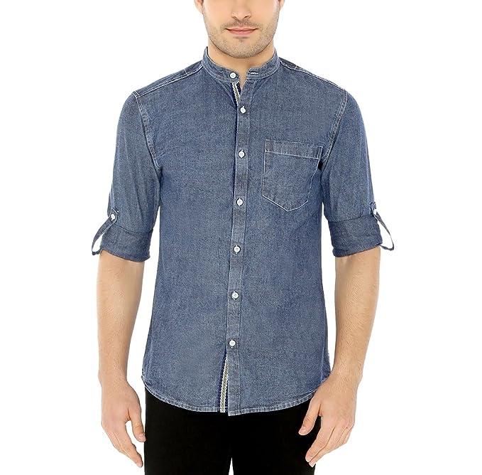 8101d28f5f8 Nick   Jess Mens Blue Mandarin Collared Casual Denim Slim Fit Shirt ...