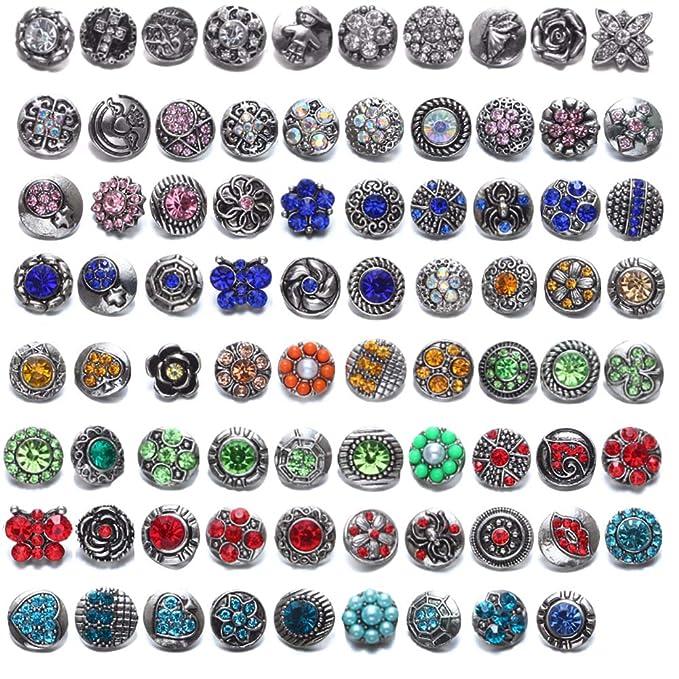 Soleebee 30 St/ück Legierung Strass Gemischt Zuf/ällig 12mm Click Button Schmuck Charms