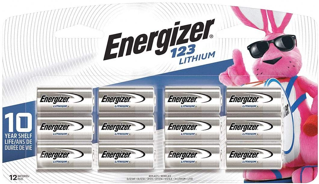 Energizer 123 Lithium Photo Battery, 12 Batteries, 1-Pack