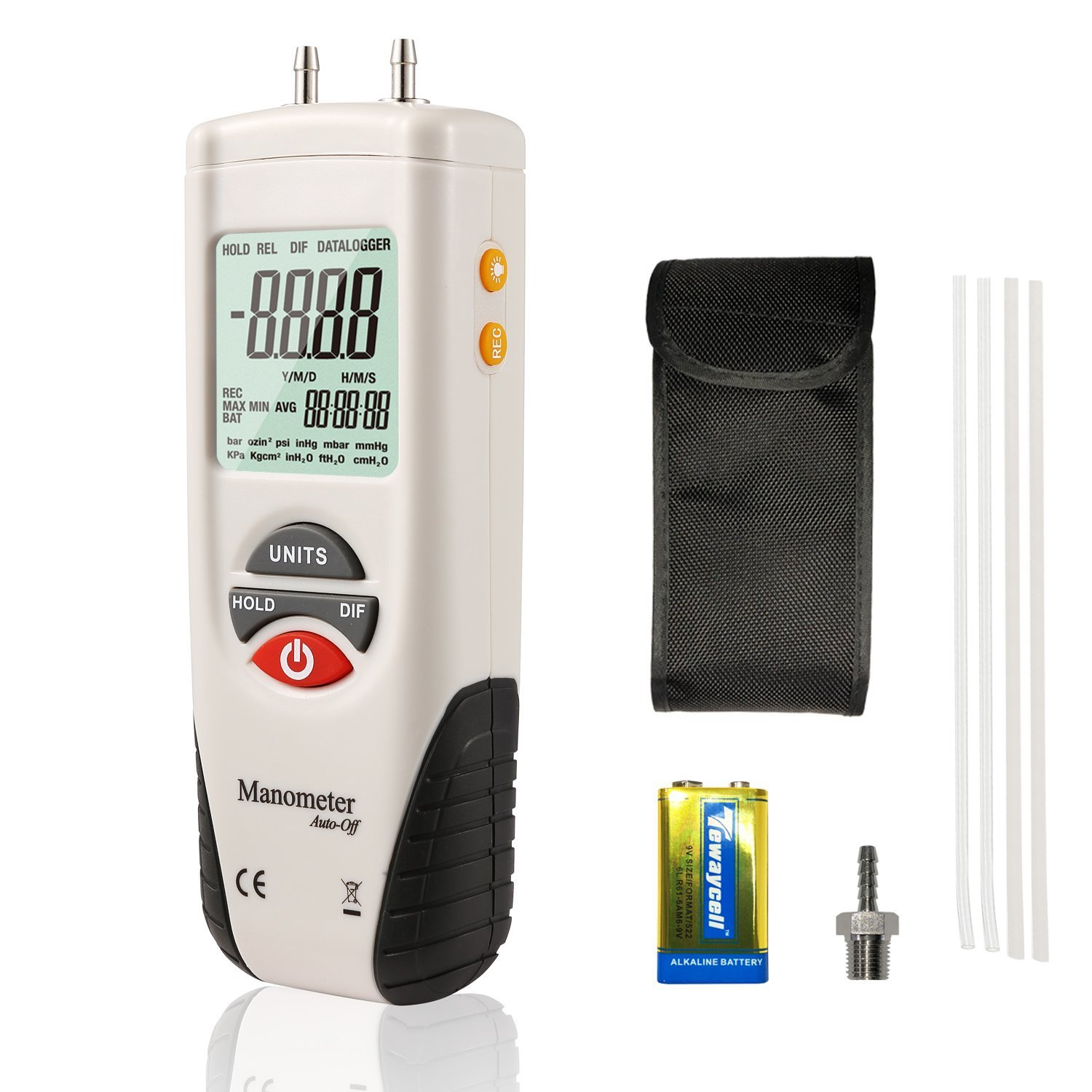 AUTOUTLET Digital Manometer HVAC Gas Pressure Tester Manometer Air Pressure Guage 0℃ to 50 ℃ with 9V Battery