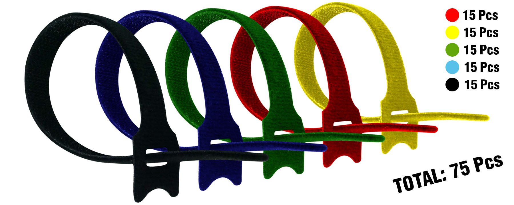 Cambridge ZipIts Self Gripping Reusable Fastening Hook & Loop Cable Ties, 75 pcs 8'' Long X 1/2'' Wide. 15 pcs each of Black, Blue, Green, Red, Yellow.