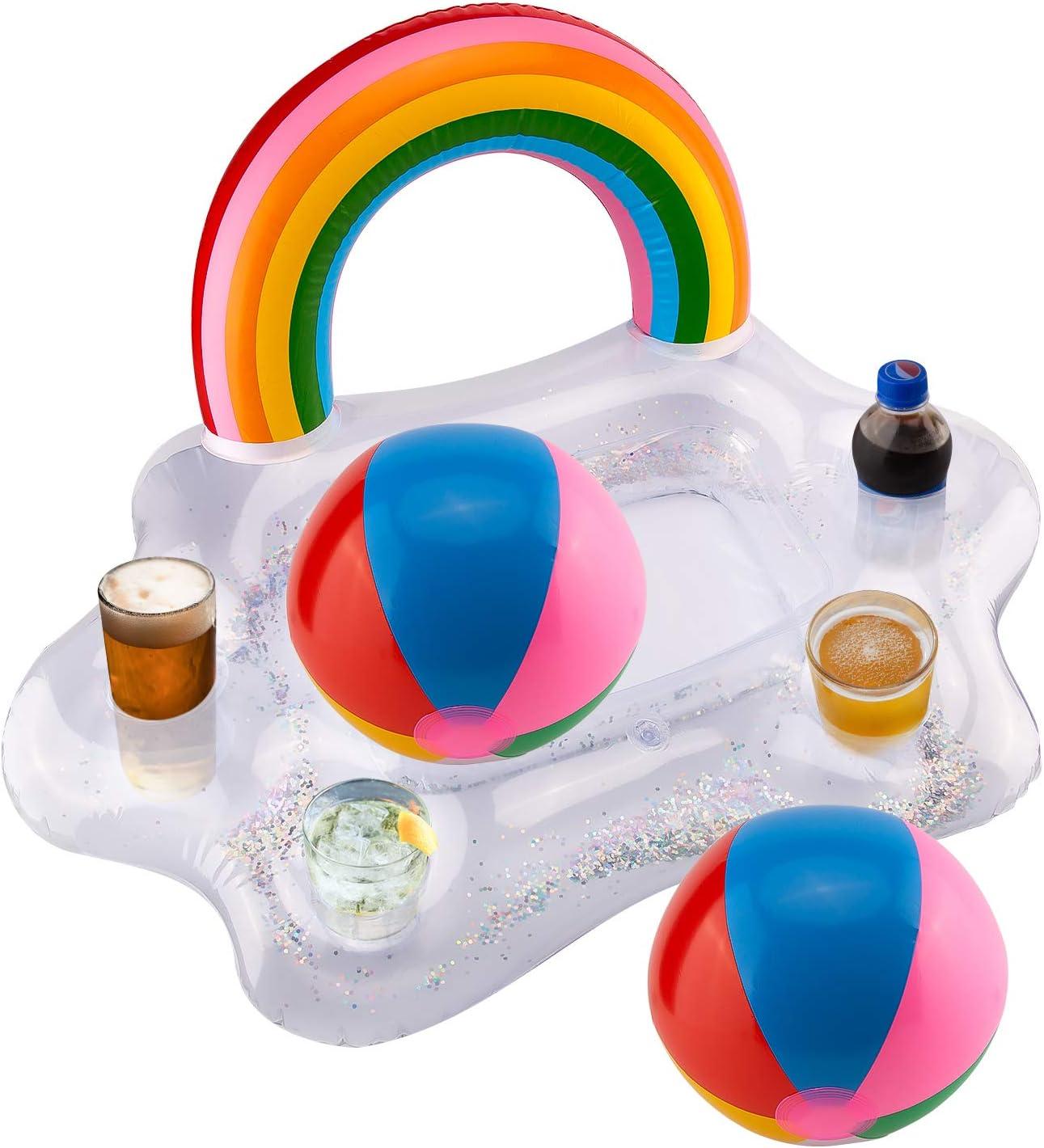 SAVITA Posavasos Hinchables - Inflable Rainbow Cloud Drink Holder con Pelota de Playa de 2 Piezas, Portavasos Flotador, Accesorios de Fiesta de Flotador de Piscina de Verano para Niños y Adultos