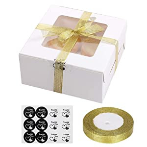 25 Packs Cupcake Boxes with Display Window and Inserts Hold 4 Standard Cupcakes, 6.3 x 6.3 x 3 Inch White Bakery Boxes for Party Favor Muffins, Small Cakes