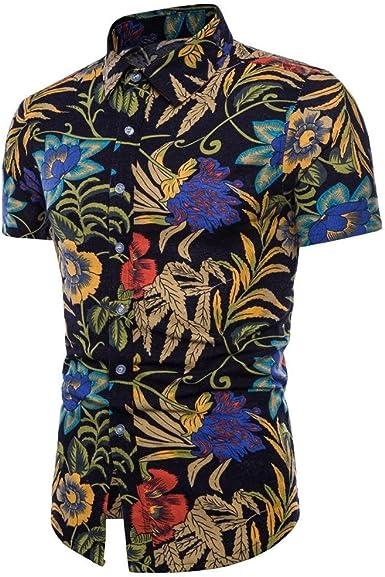 VJGOAL Camisas Hawaianas para Hombre Verano Casual Playa Estampado Floral Tops de Manga Corta Tallas Grandes Lino Delgado Camiseta Blusa: Amazon.es: Ropa y accesorios