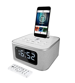 hot sale online 0163e 92067 MAJORITY Neptune Speaker Docking Station Bluetooth Alarm Clock FM Radio  Lightning Dock for iPhone 5 5S 5C 6 6+ 6S 7 7+ 8 8+ X XR XS iPad Air Mini  iPod ...