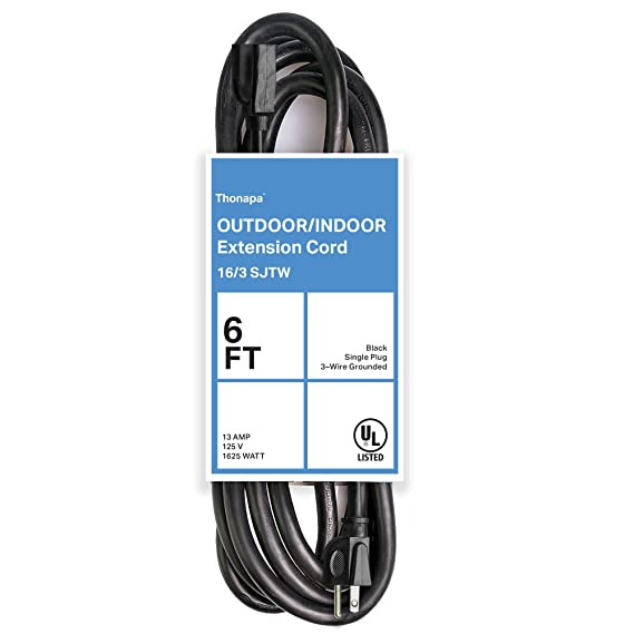 Thonapa 6 Ft Black Extension Cord - 16/3 Electrical Cable with 3 ...