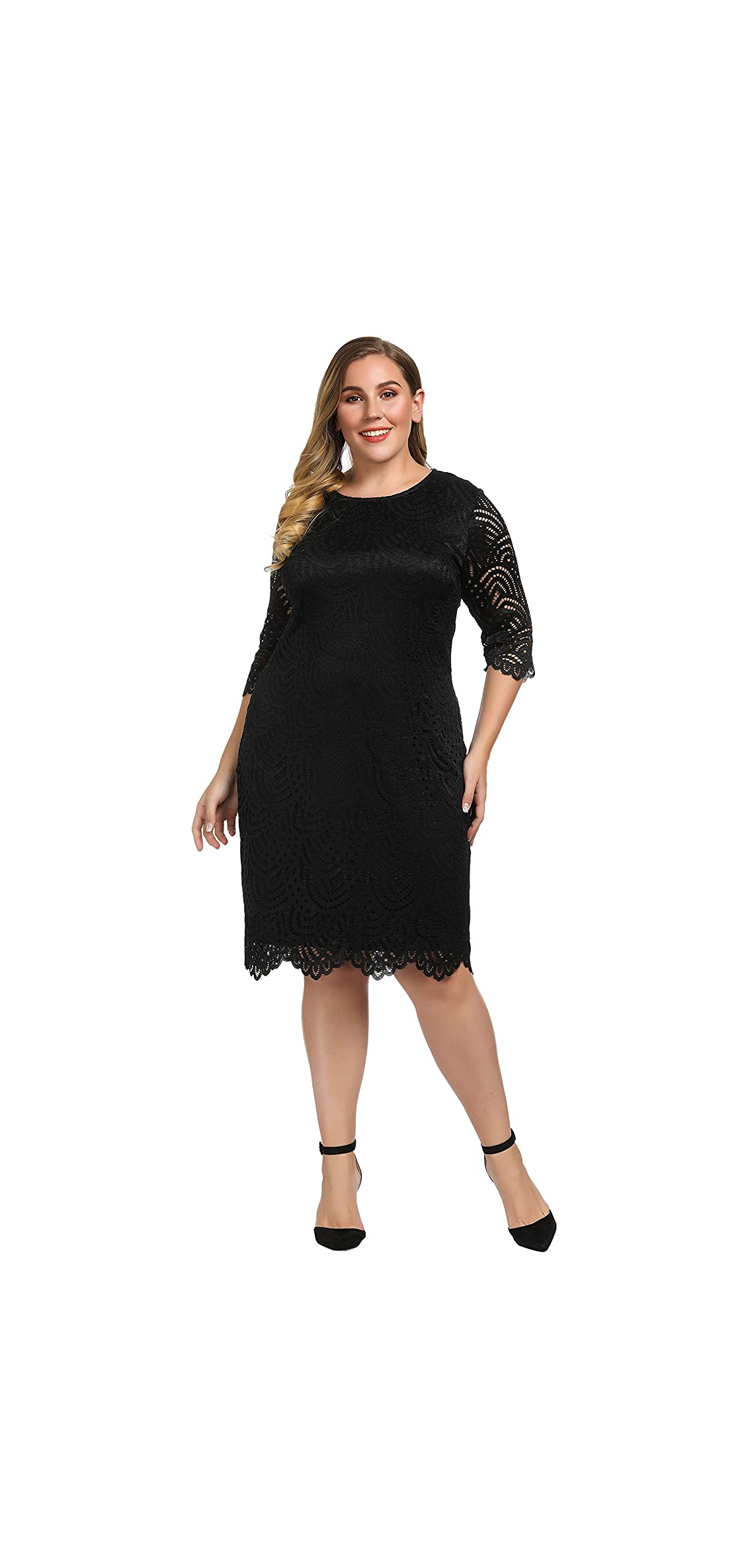 Women's Stretch Lined Plus Size Lace Shift Dress Knee Hem