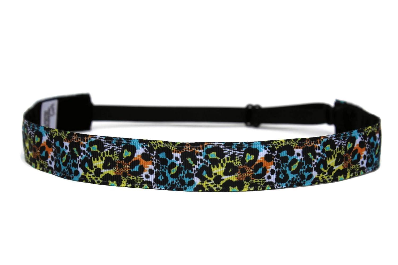 BEACHGIRL Bands Adjustable Headband Non Slip Running Hairband Neon Leopard Print