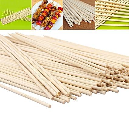 200pcs 12 pulgadas/30 cm Longitud pinchos de bambú palos de bambú de madera palillos