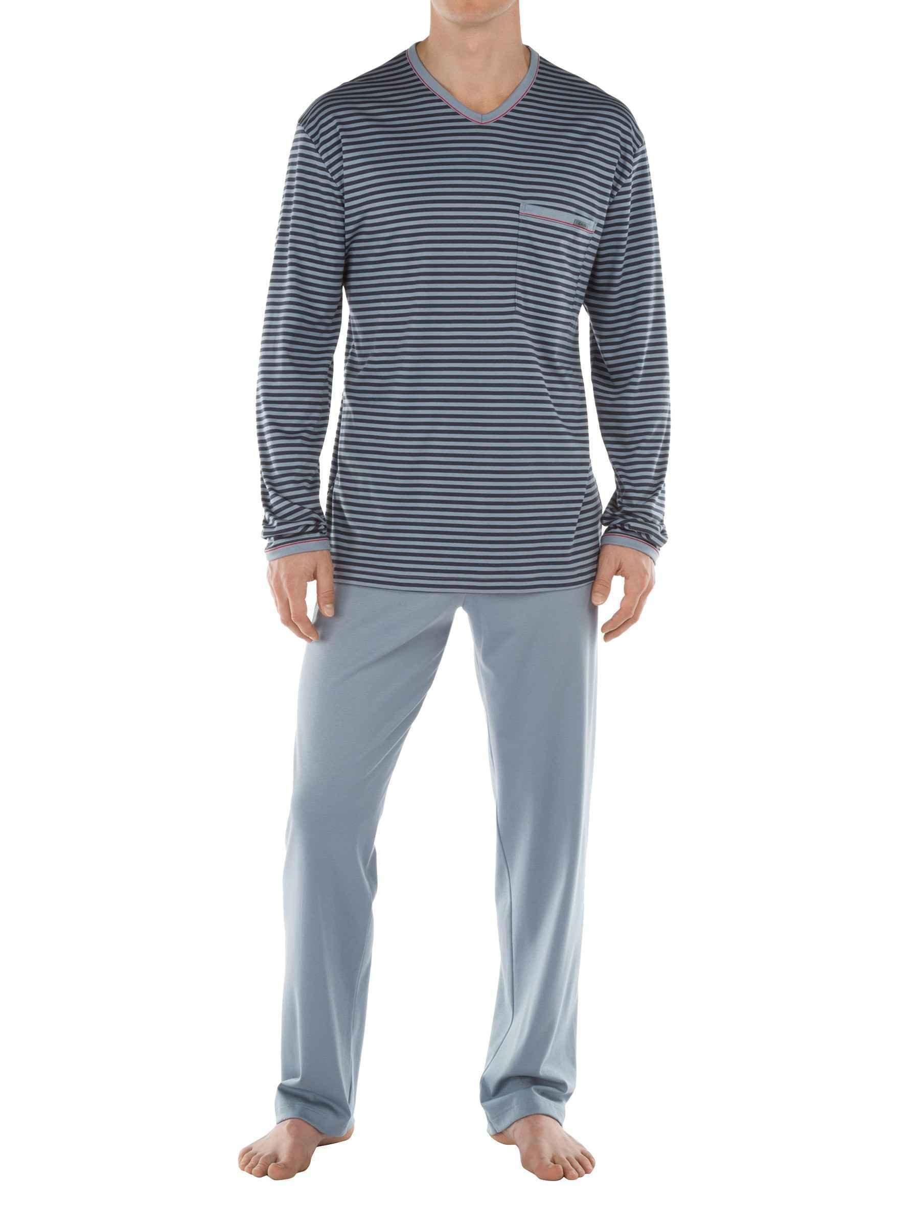 CALIDA mens v neck 100% cotton knit pajamas set SANSIBAR 46265 (X-large, 983)