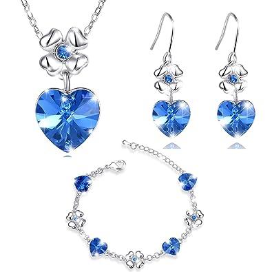15edea91e93e MARENJA Cristal-Conjuntos de Collar Pendientes y Pulsera Mujer Corazon  Trebol Chapado en Oro Blanco Cristal Azul  Amazon.es  Joyería